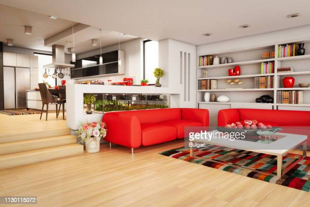 modern home interior - home showcase interior stock pictures, royalty-free photos & images