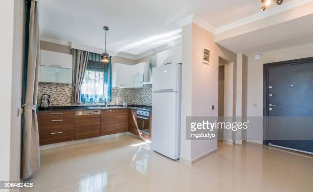 modern home kitchen - wide stock pictures, royalty-free photos & images