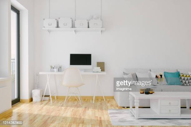 modern home office interior - studio workplace stock pictures, royalty-free photos & images