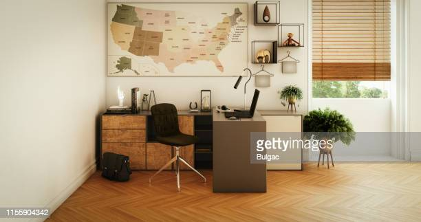 escritório home moderno - bege - fotografias e filmes do acervo