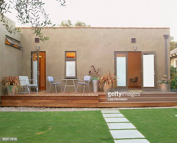 modern home - garden decking stock pictures, royalty-free photos & images