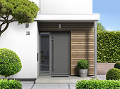 modern home with front door entrance