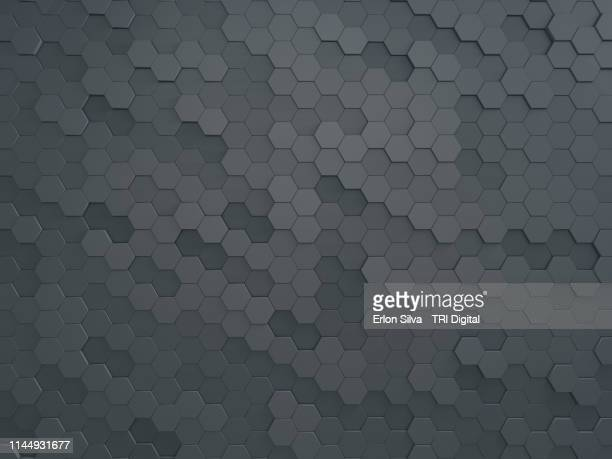 modern honeycomb wall made for graphic design background - metallic look stock-fotos und bilder