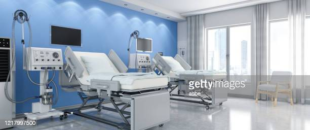 modern hospital room with ventilator system - ventilator stock pictures, royalty-free photos & images