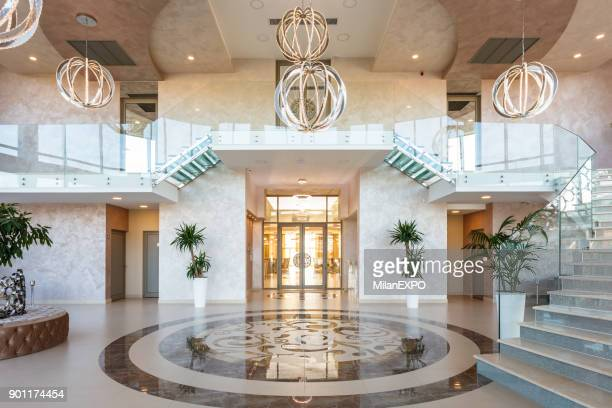 modern hotel lobby - entrance stock pictures, royalty-free photos & images