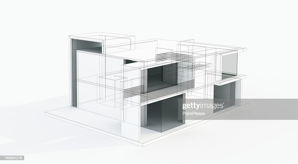 Modern House 3d Model Concept Wire Frame Rendering Stock Photo ...