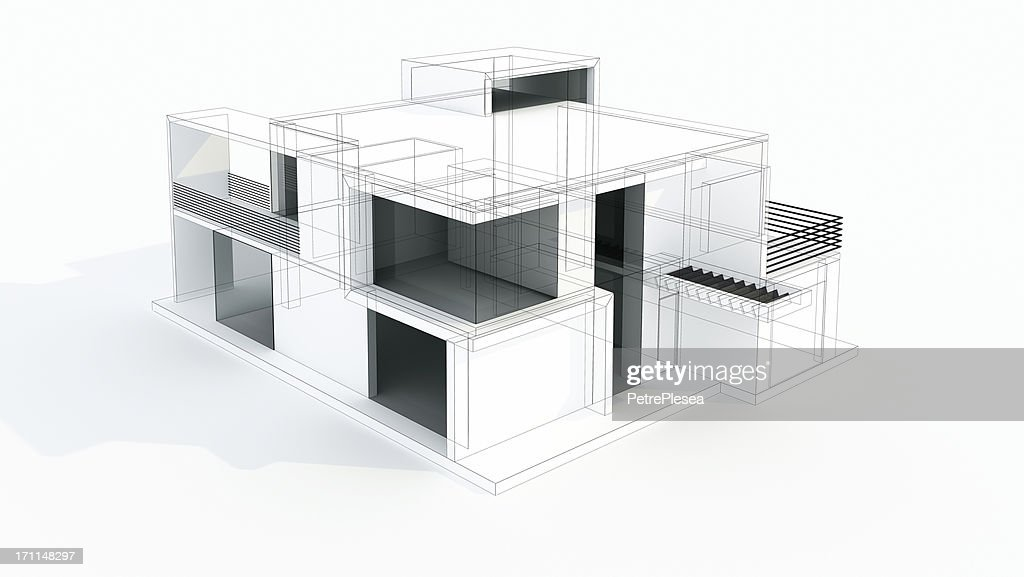 Modern House 3d Model Concept Wire Frame Rendering Project Stock ...