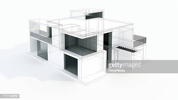 modern house 3d model concept. wire frame. rendering. project. - model building stock photos and pictures