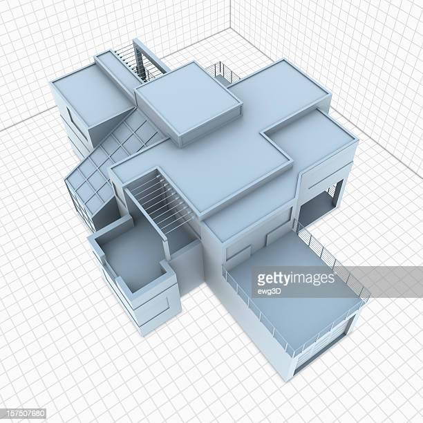 modern house exterior - wire frame model stock pictures, royalty-free photos & images