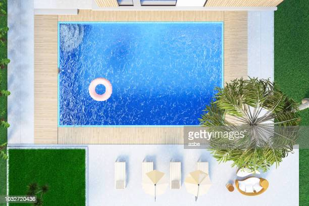 Modern House with Private Swimming Pool. Above View