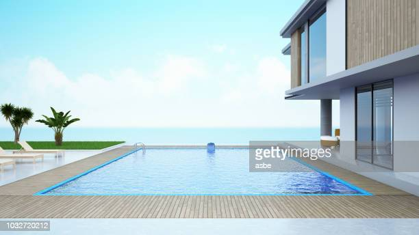 modern house with private swimming pool - piscina foto e immagini stock