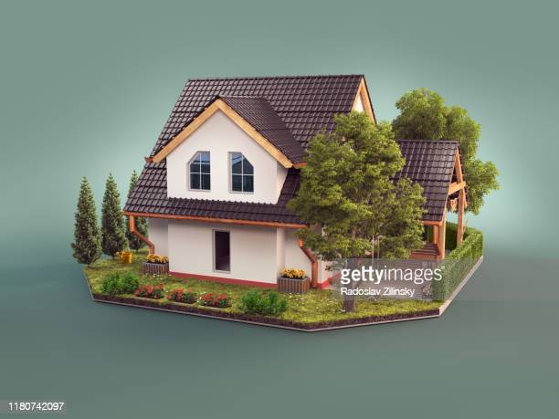 modern house with scared face expression - suburban stock pictures, royalty-free photos & images