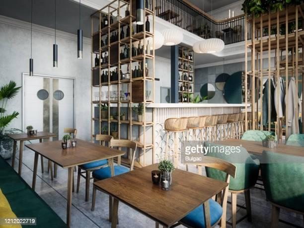 モダンカフェインテリア - カフェ ストックフォトと画像