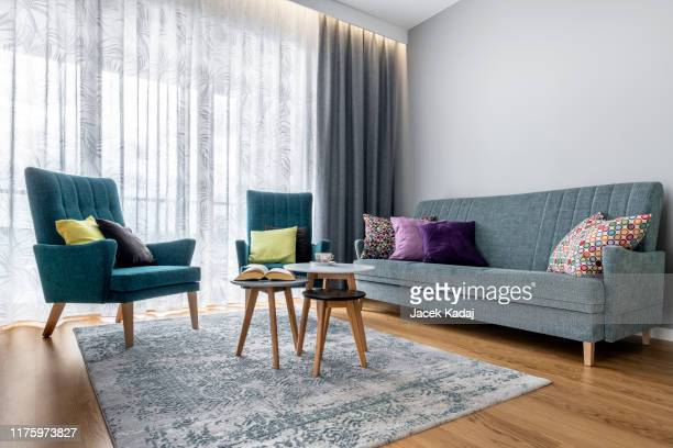 modern interior design living room - furniture stock pictures, royalty-free photos & images
