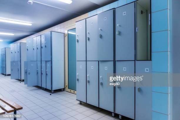 modern interior of a locker changing room - locker room stock pictures, royalty-free photos & images