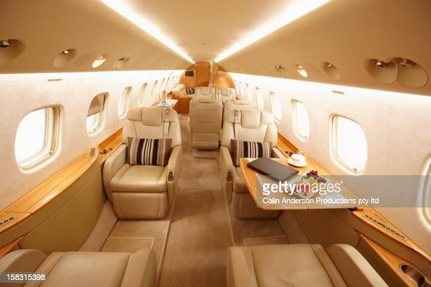 modern interior of private jet - private aeroplane stock pictures, royalty-free photos & images
