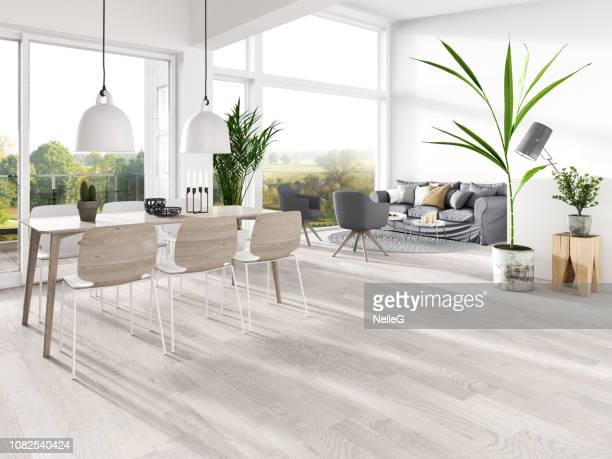 modern interior - dining room stock pictures, royalty-free photos & images