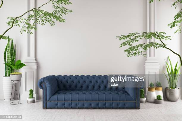 modern interior sofa with green plants - garden decoration stock pictures, royalty-free photos & images