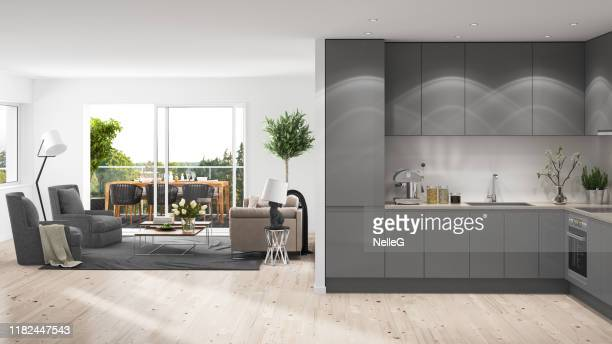 modern interior with balcony - geographical locations stock pictures, royalty-free photos & images