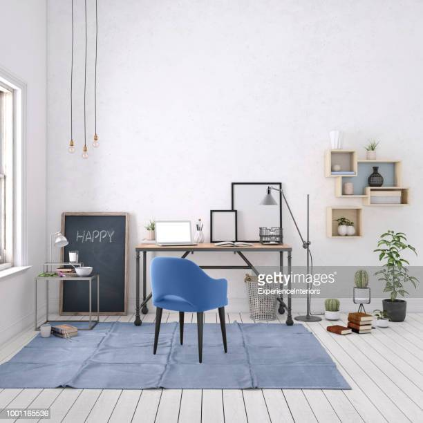 modern interior with office desk background template - scandinavia stock pictures, royalty-free photos & images
