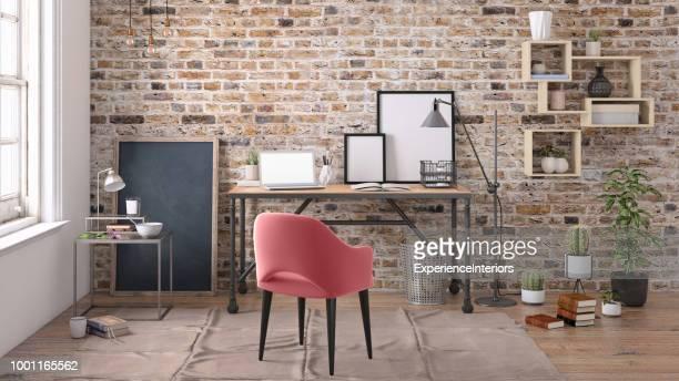 interior moderno com modelo de plano de fundo de mesa office - cinza descrição de cor - fotografias e filmes do acervo