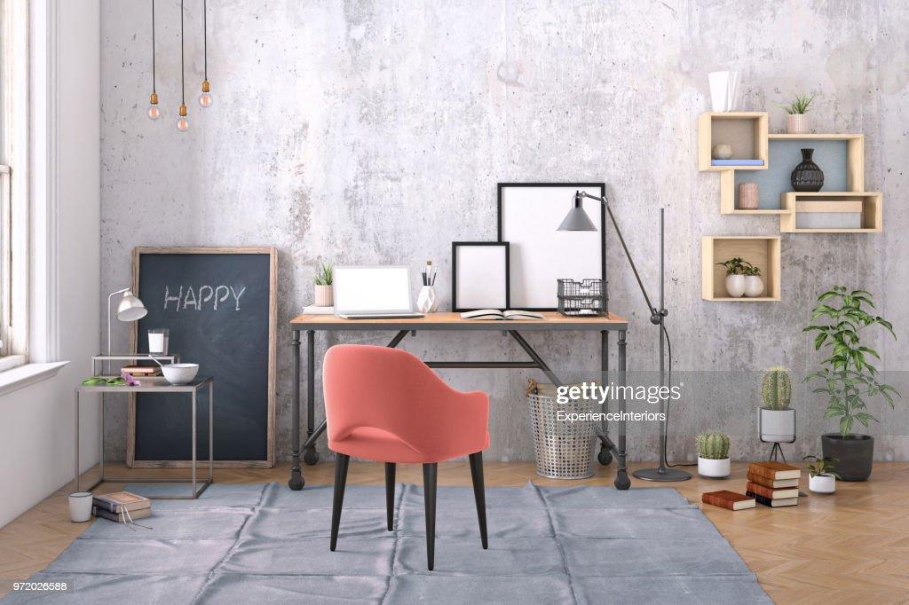 Modernes Interieur Mit Office Schreibtischhintergrundvorlage Stock ...