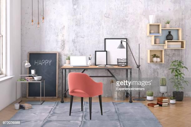 Modernes Interieur mit Office Schreibtisch-Hintergrund-Vorlage