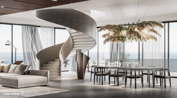 modern interiors of a large living room in 3d - luxury stock pictures, royalty-free photos & images