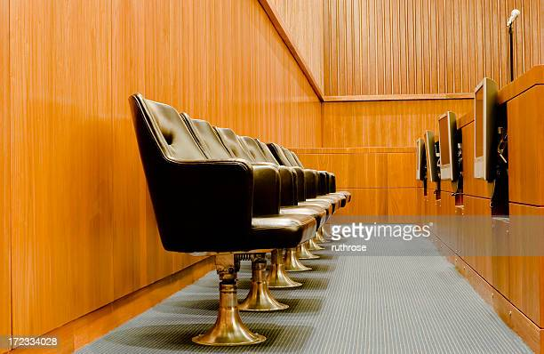 modern jurors' box in federal courtroom - jury box stock pictures, royalty-free photos & images