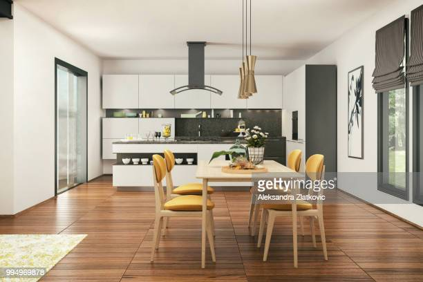 modern kitchen and dining room - dining room stock photos and pictures
