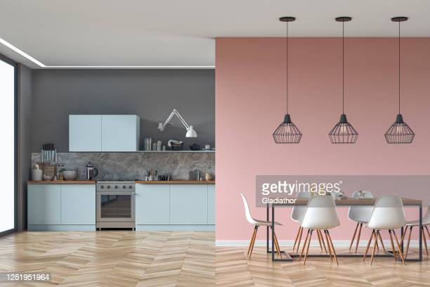 modern kitchen and dining room stock photo - geographical locations stock pictures, royalty-free photos & images