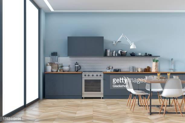 moderne küche und esszimmer stock foto - küche stock-fotos und bilder