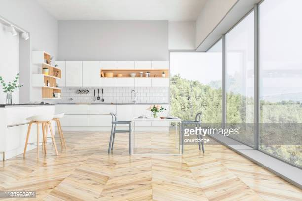 modern kitchen and kitchen interior with nature view - hardwood stock pictures, royalty-free photos & images