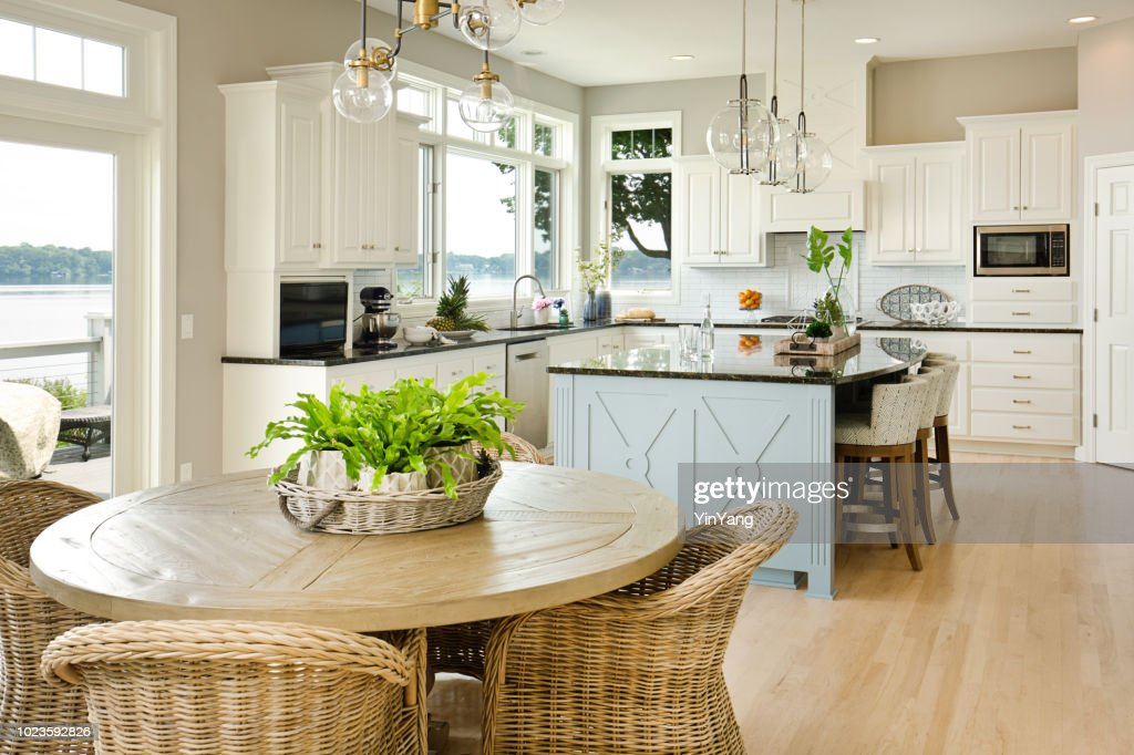 Modern Kitchen design with open concept and bar counter : Stock Photo