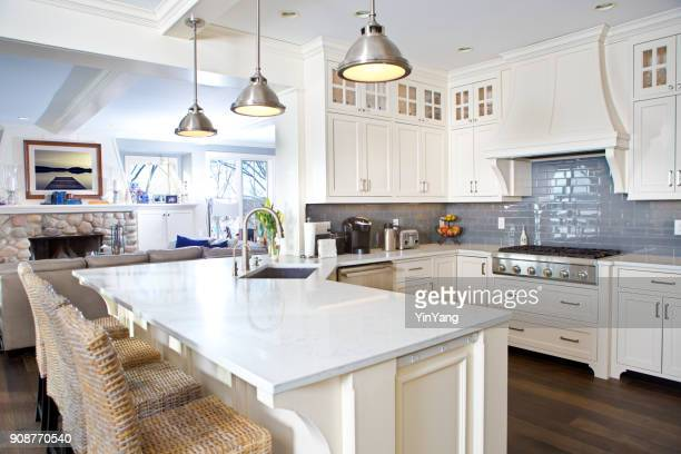 modern kitchen design with open concept and bar counter - lighting equipment stock pictures, royalty-free photos & images