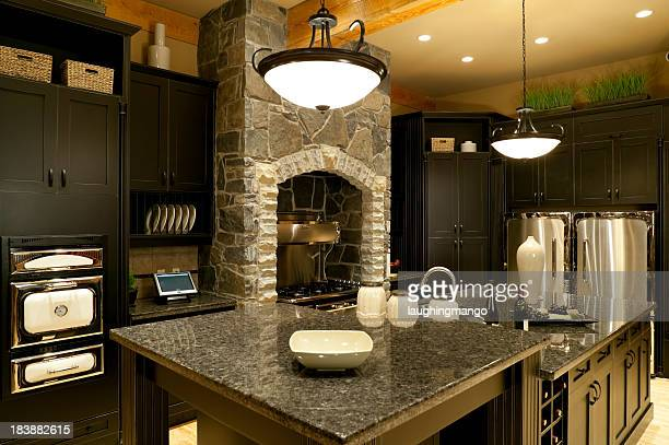 Modern kitchen home interior with marble counter tops