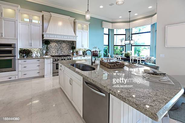 modern kitchen house interior - granite stock pictures, royalty-free photos & images