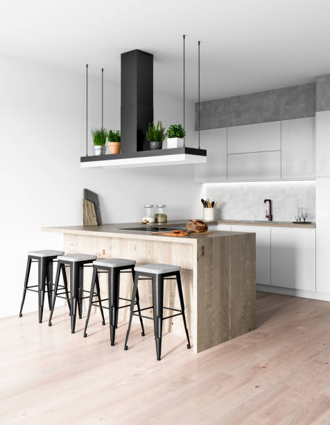 modern kitchen interior - kitchen stock pictures, royalty-free photos & images