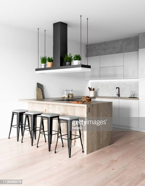 modern kitchen interior - domestic kitchen stock pictures, royalty-free photos & images
