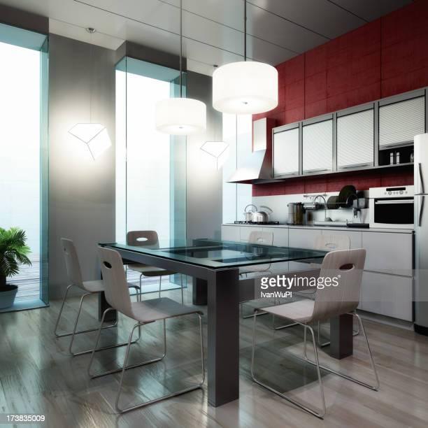 Modern kitchen interior render (CGI)
