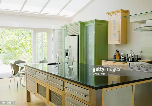 Modern kitchen island in kitchen