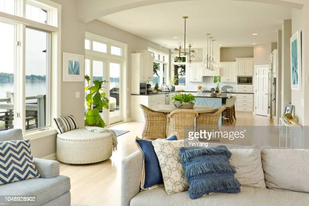 modern kitchen living room hone design with open concept - home showcase interior stock pictures, royalty-free photos & images