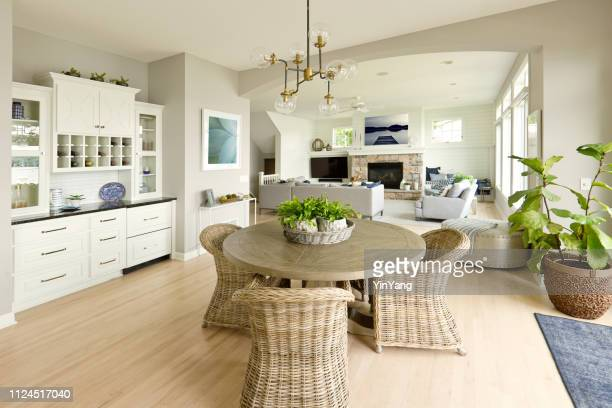 modern kitchen living room hone design with open concept - hardwood stock pictures, royalty-free photos & images