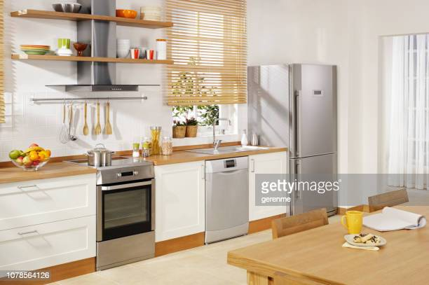 modern kitchen - stainless steel stock pictures, royalty-free photos & images