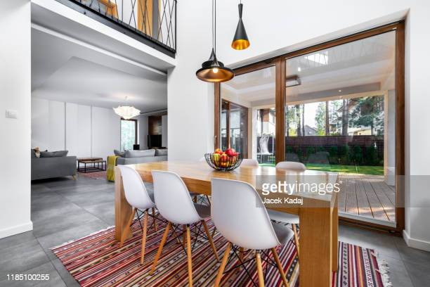 modern kitchen - dining room stock pictures, royalty-free photos & images
