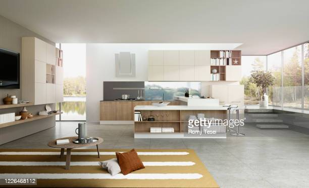 modern kitchen - peninsula stock pictures, royalty-free photos & images