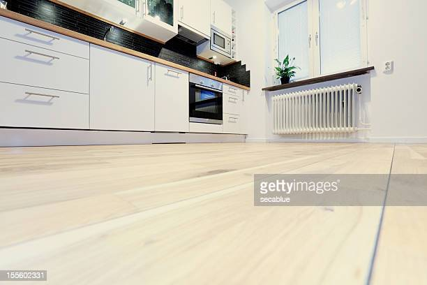 modern kitchen - flooring stock photos and pictures