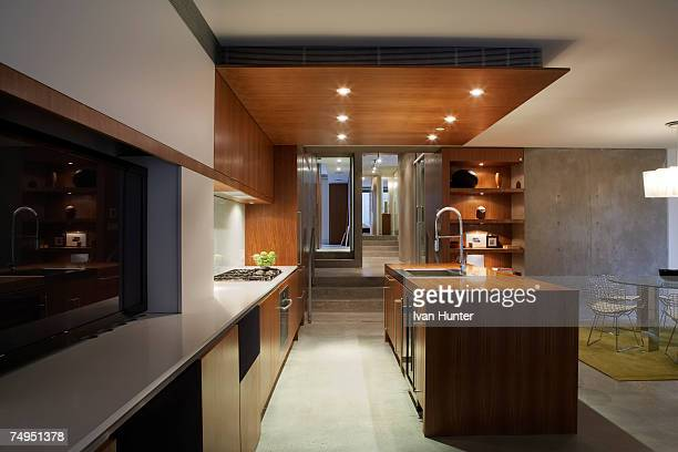 modern kitchen - ceiling stock pictures, royalty-free photos & images