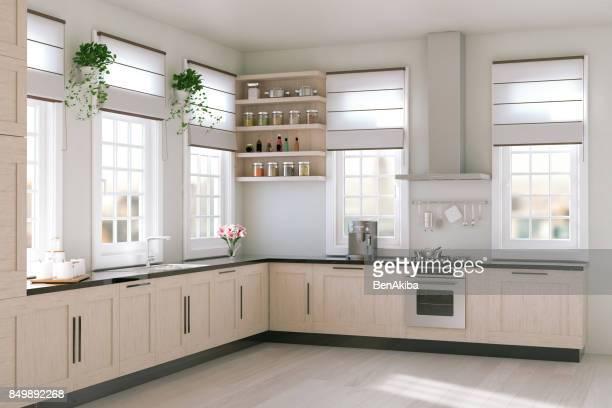 moderne küche - küchenbedarf stock-fotos und bilder