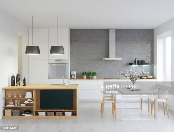 modern kitchen - nordic countries stock pictures, royalty-free photos & images